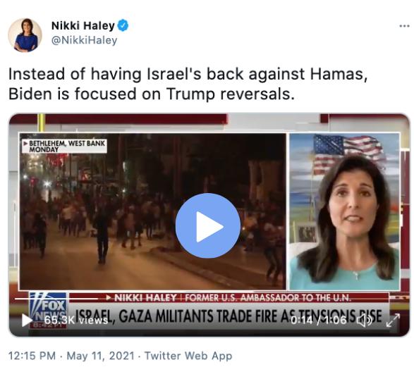 Pray for Israel: Nikki Haley via twitter @NikkiHaley Instead of having Israel's back against Hamas, Biden is focused on Trump reversals.
