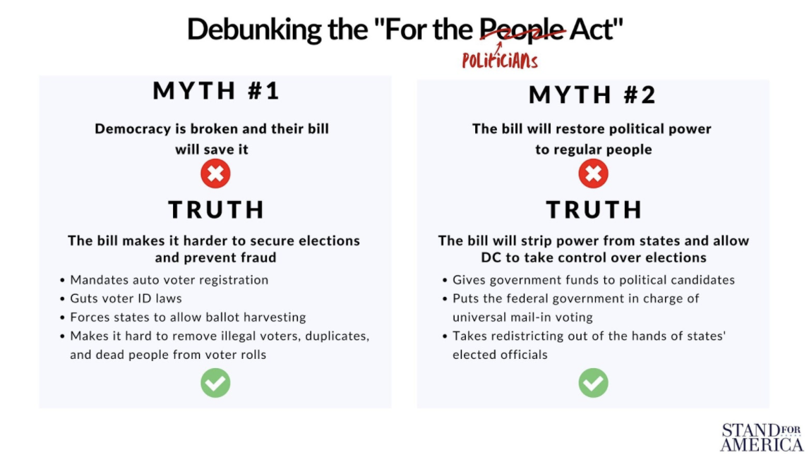 "Stand For America graphic Debunking the ""For the People—aka Politicians—Act"""